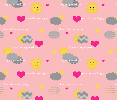 You Are My Sunshine fabric by nfdesigncreations on Spoonflower - custom fabric