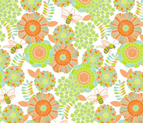 Buzzy bee garden orange wallpaper cjldesigns spoonflower for Cj garden designs