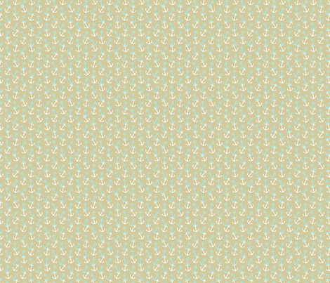 Anchors Away Khaki fabric by littlerhodydesign on Spoonflower - custom fabric