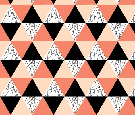 Coral Black Peach Triangle Cheater Quilt - Triangle Baby Blanket fabric by modfox on Spoonflower - custom fabric