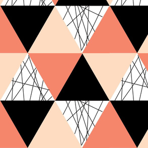 Coral Black Peach Triangle Cheater Quilt - Triangle Baby Blanket