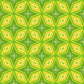 Yellow and Green Op Art Geometic