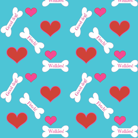 dog bones/ hearts fabric by magentarosedesigns on Spoonflower - custom fabric