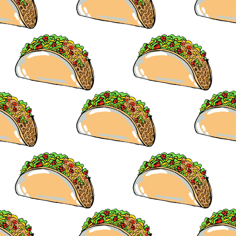 Tacos on White fabric by tarareed on Spoonflower - custom fabric