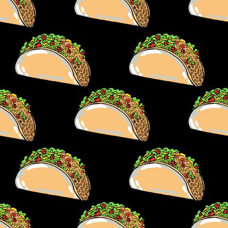 Tiny Tacos on Black fabric by tarareed on Spoonflower - custom fabric