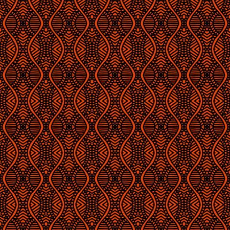 Serpentine Prayers Orange Brown fabric by eve_catt_art on Spoonflower - custom fabric