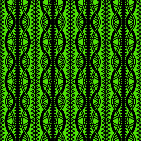 Serpentine Cables Green Black fabric by eve_catt_art on Spoonflower - custom fabric