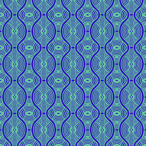 Blue Ripples Hourglass 1 fabric by eve_catt_art on Spoonflower - custom fabric