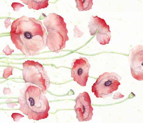 Watercolor Poppy border print - version 2 fabric by chainmaille_princess on Spoonflower - custom fabric