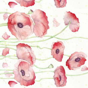 Watercolor Poppy border print - version 2