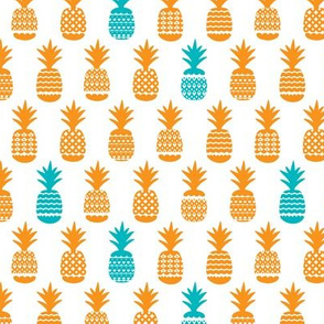 Cute tropical summer bikini pineapple print orange and aqua blue illustration pattern