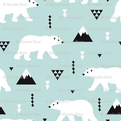 Cute polar bear winter mountain geometric triangle print XS