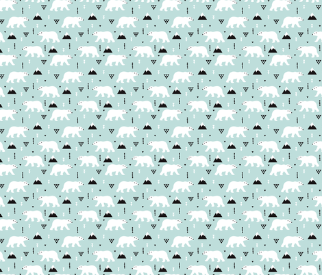 Cute polar bear winter mountain geometric triangle print XS fabric by littlesmilemakers on Spoonflower - custom fabric
