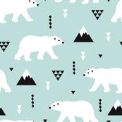 Cute polar bear mint blue winter mountain geometric triangle print XL