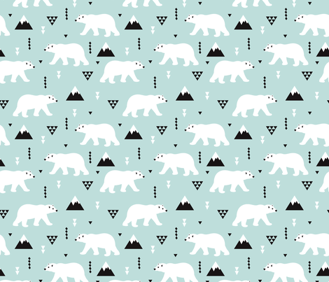 Cute polar bear mint blue winter mountain geometric triangle print XL fabric by littlesmilemakers on Spoonflower - custom fabric