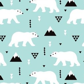 Cute polar bear mint blue winter mountain geometric triangle print XL