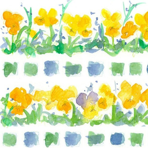 Yellow Pansies and Checks