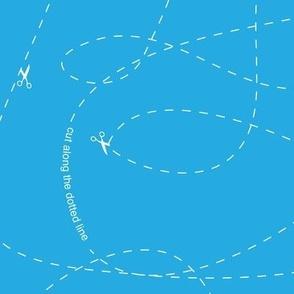 Cut Along Dotted Line - Blue