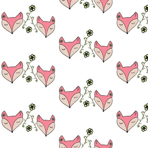 Woodland Foxes Pink