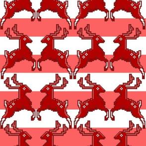 Pixel Deer Christmas Stripe