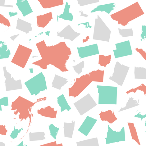 United States (Coral, mint, gray) fabric by robyriker on Spoonflower - custom fabric