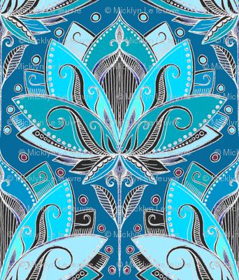 Art Deco Lotus Rising in Teal, Turquoise & Black