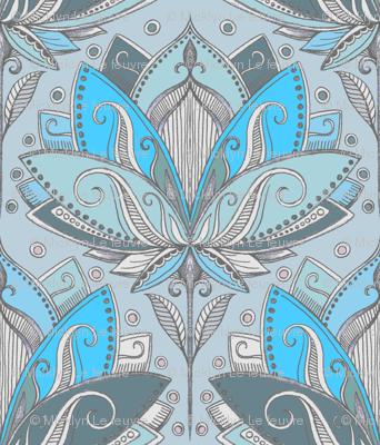 Art Deco Lotus Rising in Turquoise & Sage Green