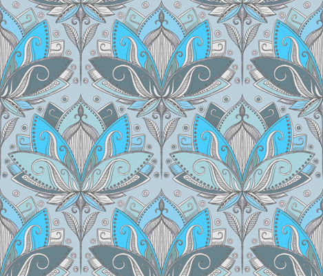 Art Deco Lotus Rising in Turquoise & Sage Green fabric by micklyn on Spoonflower - custom fabric