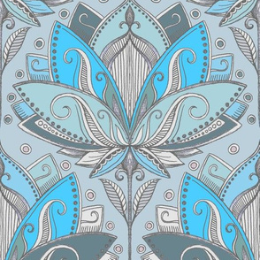 Art Deco Lotus Rising in Turquoise & Sage Green