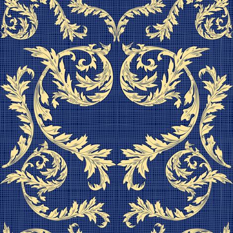 Capri Acanthus Blue fabric by vannina on Spoonflower - custom fabric
