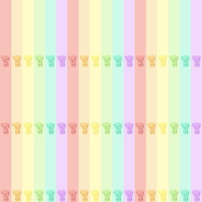 Gummy_Bears Pastel Rainbow Stripes