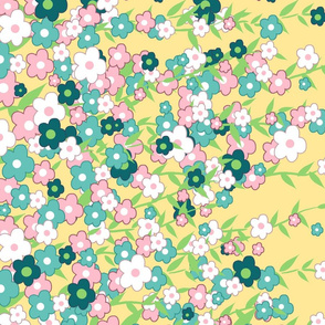 Spring Trailing Flowers, Single Border Print