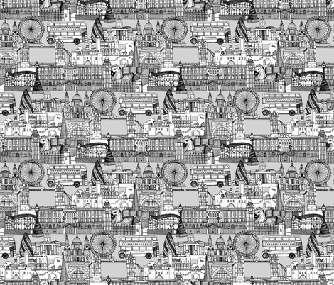 london toile black white fabric by scrummy on Spoonflower - custom fabric