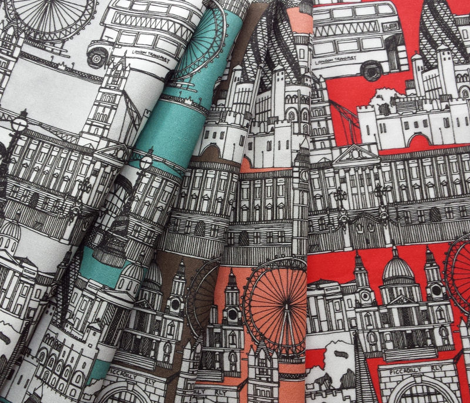 london toile mocha brown