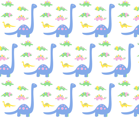 Dinosaurs pastel fabric by pamelachi on Spoonflower - custom fabric