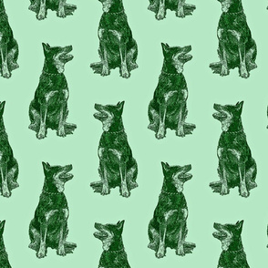 Sitting Australian cattle dog - green