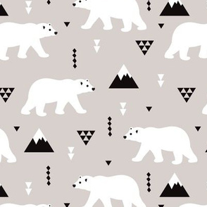Cute polar bear winter mountain geometric triangle print XL