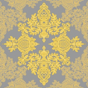 Golden Folk - a yellow & grey folk art inspired pattern