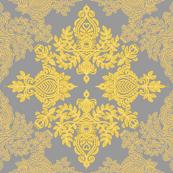 Golden Folk - a yellow & grey folk art inspired pattern
