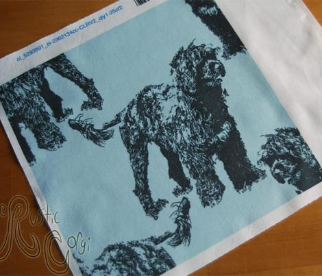 Posing Portuguese Water Dog - blue