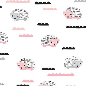 Cute little hedgehog animal summer garden animals illustration print for kids