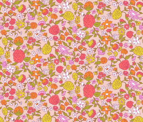 Summer Blooms | Peach fabric by imaginaryanimal on Spoonflower - custom fabric