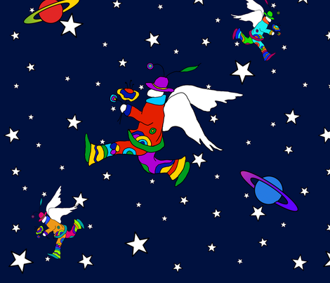 Angel Dudes in Space2 fabric by sssowers on Spoonflower - custom fabric
