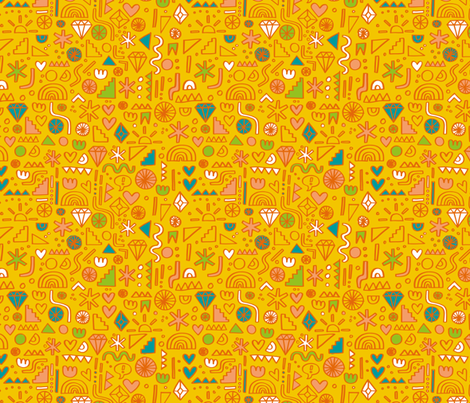 Busy Day Yellow fabric by amywalters on Spoonflower - custom fabric