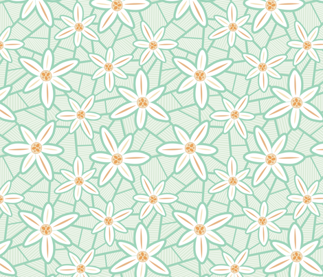 Lilies (Mint) fabric by brendazapotosky on Spoonflower - custom fabric