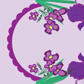 Iris and Viola Border Print