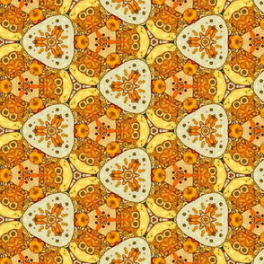 Geometrical pattern yellowy-brown