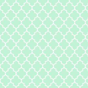 quatrefoil MED ice mint green