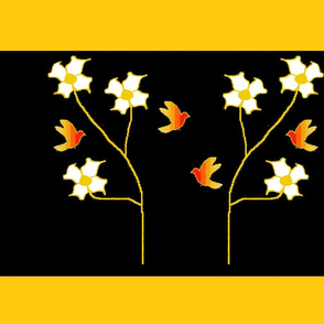 Firebirds on black with orange border