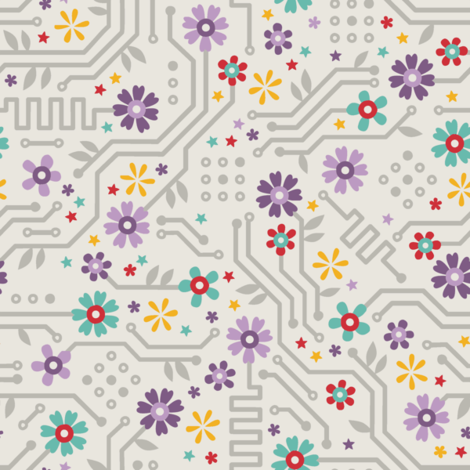 Flower Circuit Yellow Pop fabric by anitakingsley on Spoonflower - custom fabric